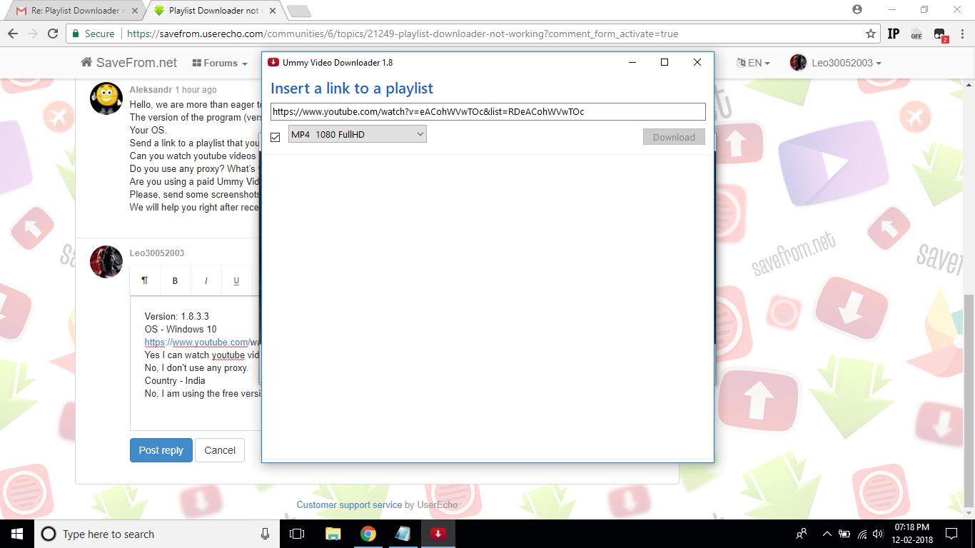 Playlist Downloader not working / Ummy Video Downloader(EN